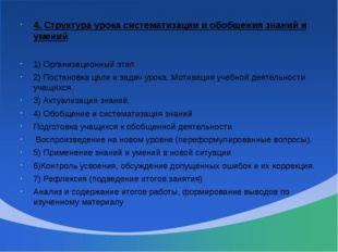 4. Структура урока систематизации и обобщения знаний и умений 1) Организацион