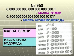 № 958 6 000 000 000 000 000 000 000 Т – МАССА ЗЕМЛИ 0, 000 000 000 000 000 00