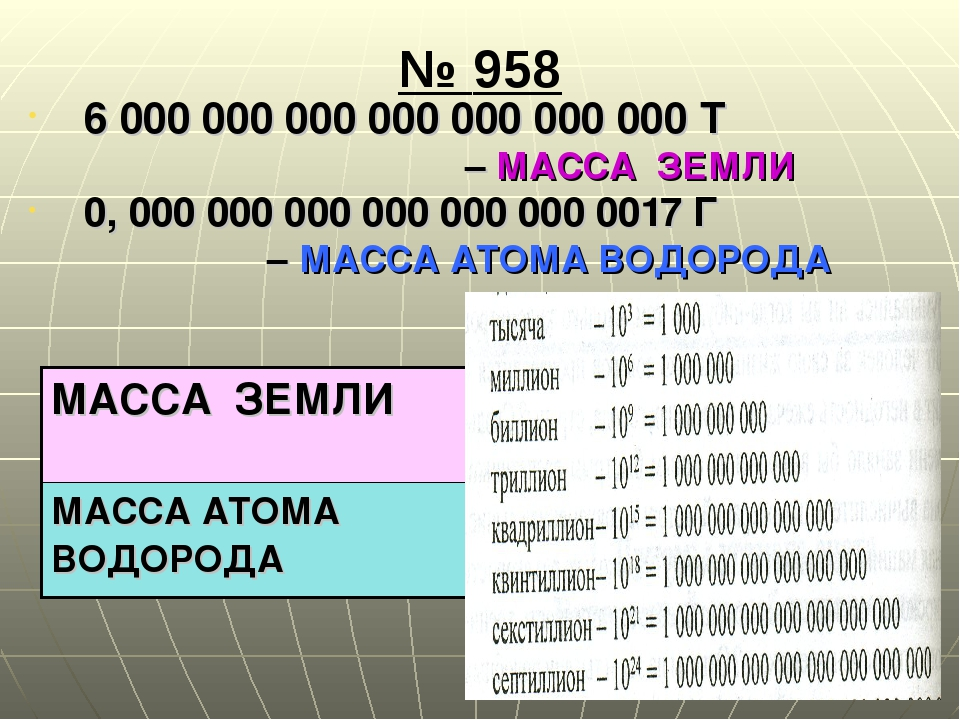 № 958 6 000 000 000 000 000 000 000 Т – МАССА ЗЕМЛИ 0, 000 000 000 000 000 00...