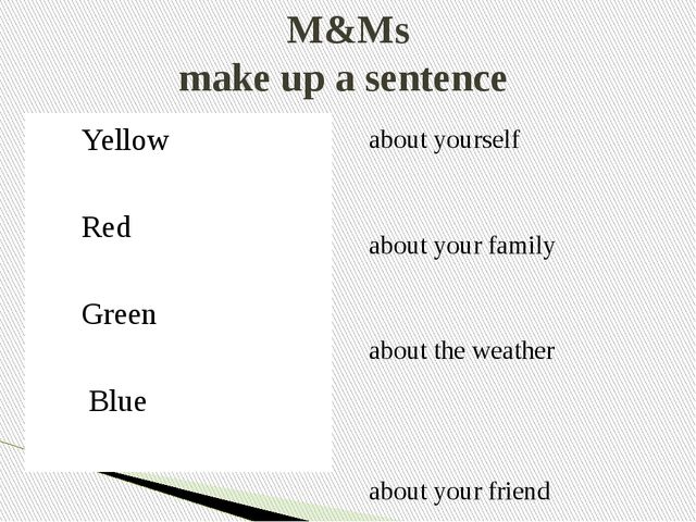 M&Ms make up a sentence Yellow Red Green Blue   about yourself about your fam...
