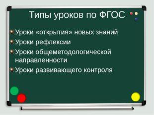Типы уроков по ФГОС Уроки «открытия» новых знаний Уроки рефлексии Уроки общем