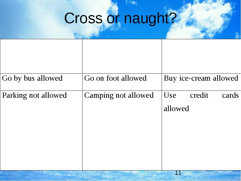 Cross or naught? Eat/drinknotallowed Ridemotorbikeallowed Takingphotographsno...