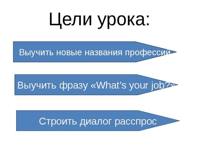 Цели урока: Выучить новые названия профессий Выучить фразу «What's your job?»...
