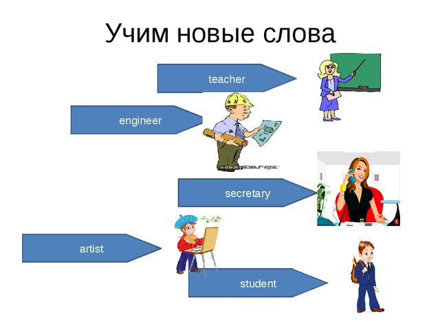 Учим новые слова teacher engineer secretary artist student