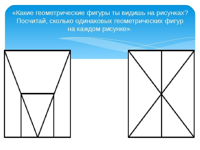«Какие геометрические фигуры ты видишь на рисунках? Посчитай, сколько одинако...