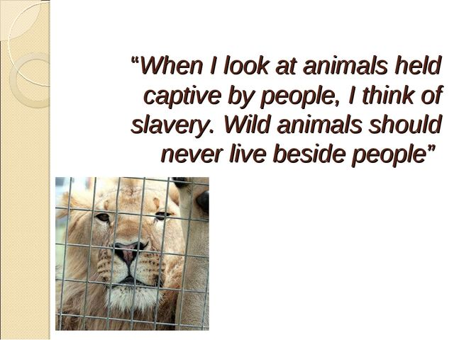 """""""When I look at animals held captive by people, I think of slavery. Wild ani..."""