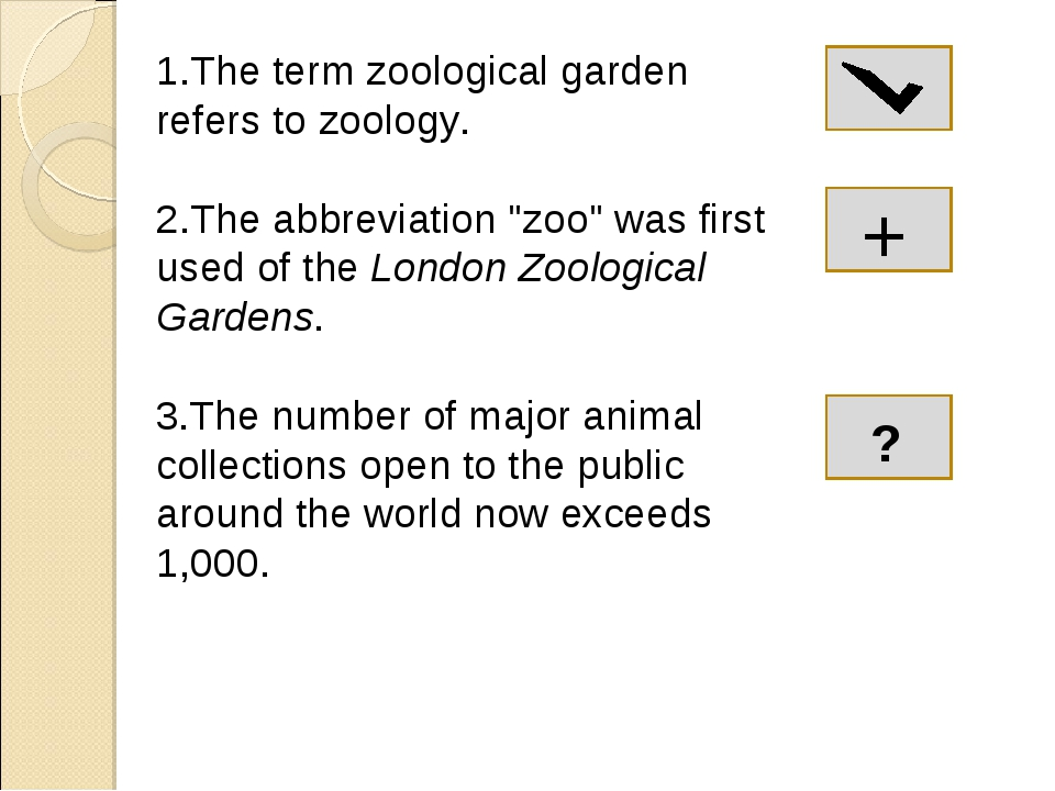 """1.The term zoological garden refers to zoology. 2.The abbreviation """"zoo"""" was..."""