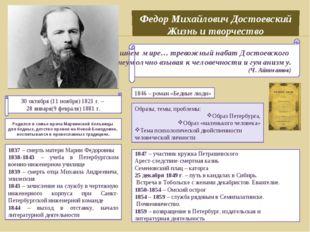 Федор Михайлович Достоевский Жизнь и творчество В сегодняшнем мире… тревожны