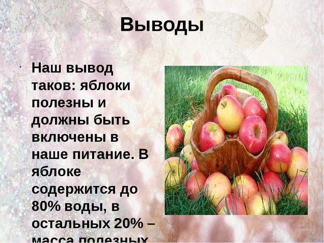 Выводы Наш вывод таков: яблоки полезны и должны быть включены в наше питание....