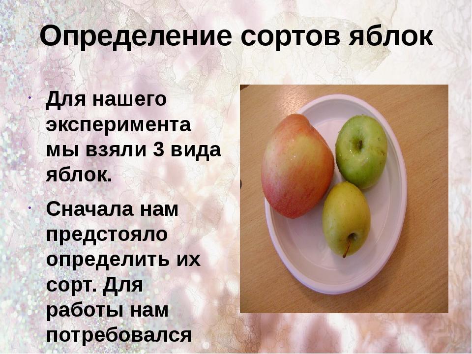 Определение сортов яблок Для нашего эксперимента мы взяли 3 вида яблок. Снача...