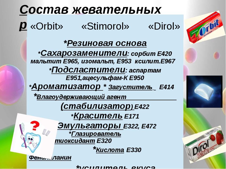 Состав жевательных резинок «Orbit» «Stimorol» «Dirol» *Резиновая основа *Сах...