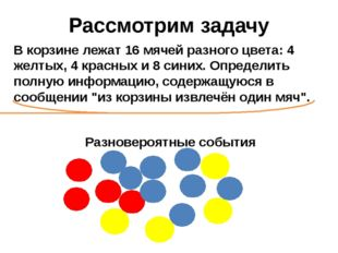 Рассмотрим задачу В корзине лежат 16 мячей разного цвета: 4 желтых, 4 красных