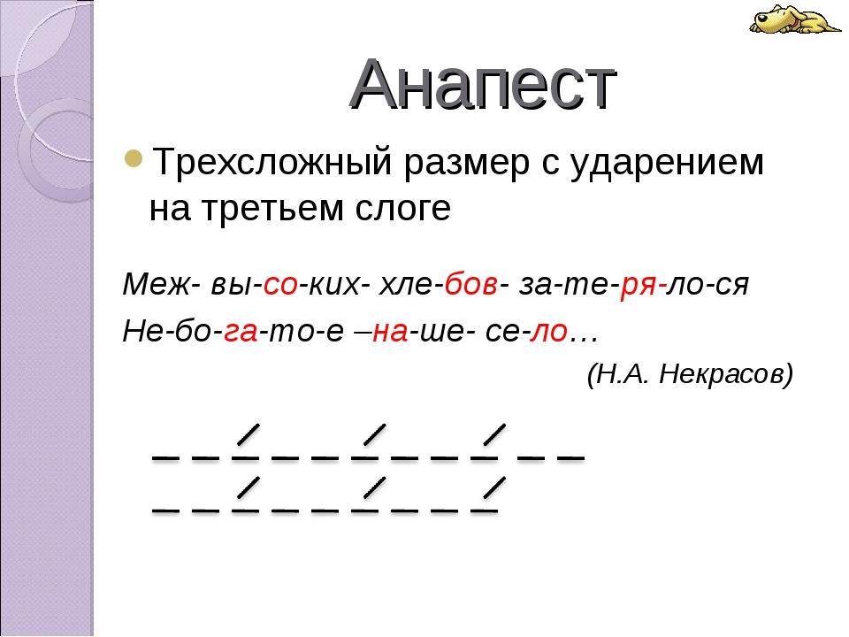 Анапест Трехсложный размер с ударением на третьем слоге Меж- вы-со-ких- хле-б...