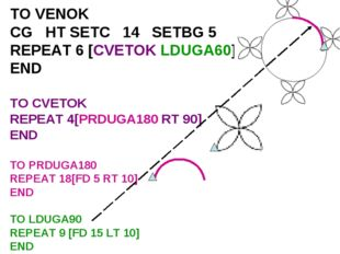 TO VENOK CG HT SETC 14 SETBG 5 REPEAT 6 [CVETOK LDUGA60] END TO CVETOK REPEAT