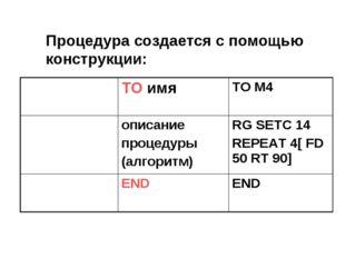 Процедура создается с помощью конструкции: ТО имяTO M4 описание процедуры
