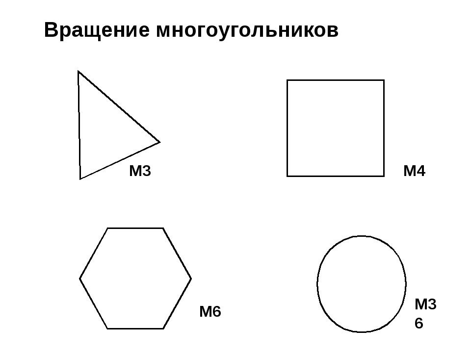 Вращение многоугольников М3 М4 М36 М6