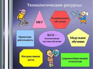 Технологические ресурсы ИКТ Развивающее обучение Проектная деятельность КСО –