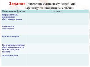 Задание: определите сущность функции СМИ, зафиксируйте информацию в таблице