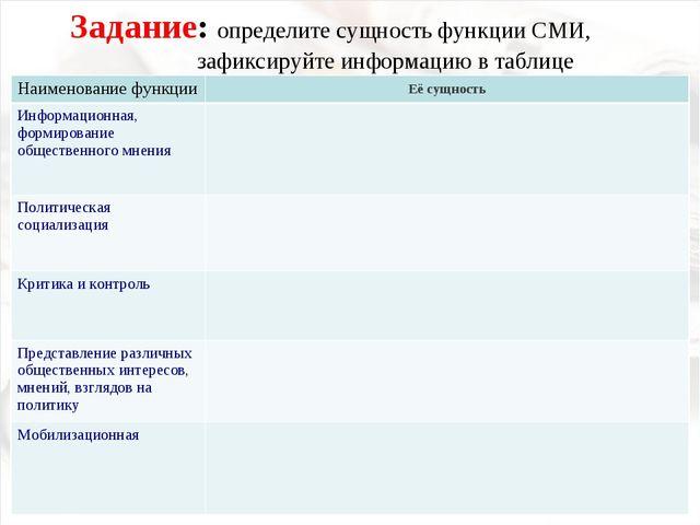 Задание: определите сущность функции СМИ, зафиксируйте информацию в таблице...