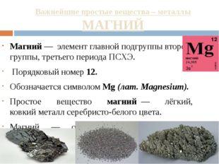 Важнейшие простые вещества – металлы МАГНИЙ Магний— элемент главной подгруп