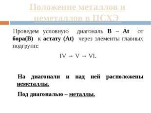 Положение металлов и неметаллов в ПСХЭ Проведем условную диагональ B – At от