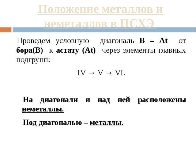 Положение металлов и неметаллов в ПСХЭ Проведем условную диагональ B – At от...