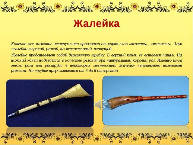 Жалейка Конечно же, название инструмента произошло от корня слов «жалеть», «ж...