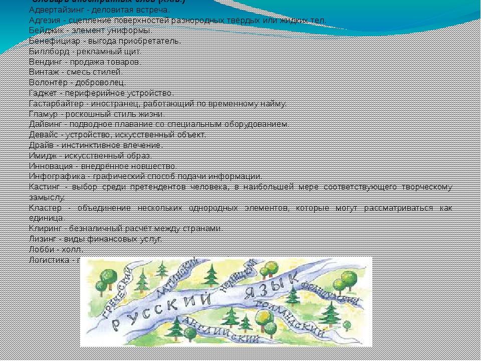 Словарь иностранных слов (XXIв.) Адвертайзинг - деловитая встреча. Адгезия -...