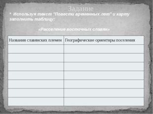 """Задание * Используя текст """"Повести временных лет"""" и карту заполнить таблицу:"""