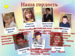 Тищенко Александра Христолюбов Матвей Макаров Артём Росоха Анна Бочкарев Дени