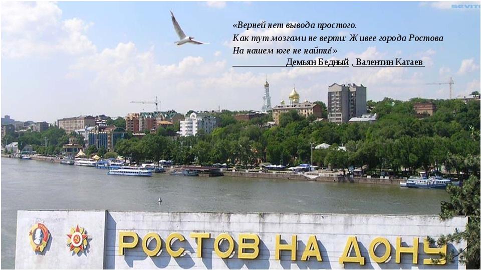 «Верней нет вывода простого. Как тут мозгами не верти: Живее города Ростова...