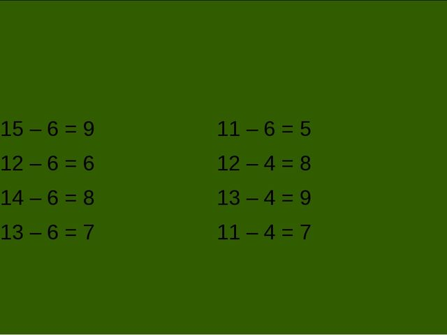 15 – 6 = 9 12 – 6 = 6 14 – 6 = 8 13 – 6 = 7 11 – 6 = 5 12 – 4 = 8 13 – 4 = 9...