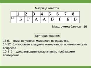 Матрица ответов Критерии оценки: 16 б. – отлично усвоен материал, поздравляю.