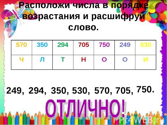 Расположи числа в порядке возрастания и расшифруй слово. 249, 294, 350, 530,...