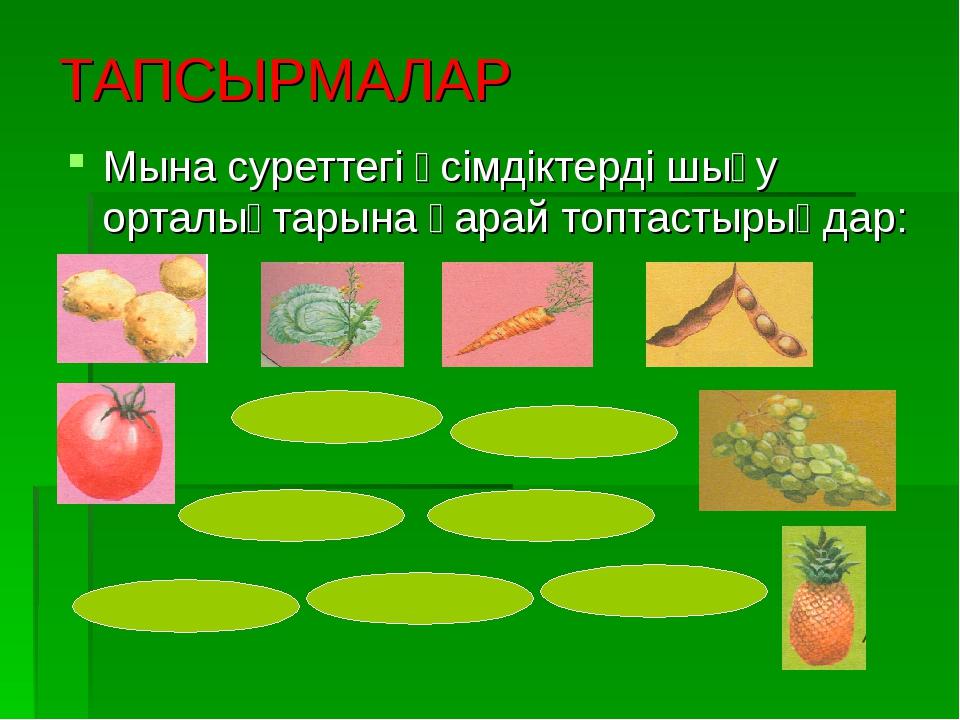 ТАПСЫРМАЛАР Мына суреттегі өсімдіктерді шығу орталықтарына қарай топтастырыңд...