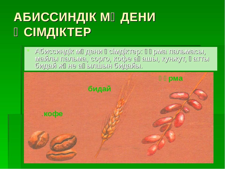 АБИССИНДІК МӘДЕНИ ӨСІМДІКТЕР Абиссиндік мәдени өсімдіктер: құрма пальмасы, ма...