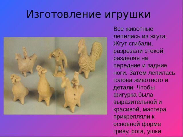 Изготовление игрушки Все животные лепились из жгута. Жгут сгибали, разрезали...