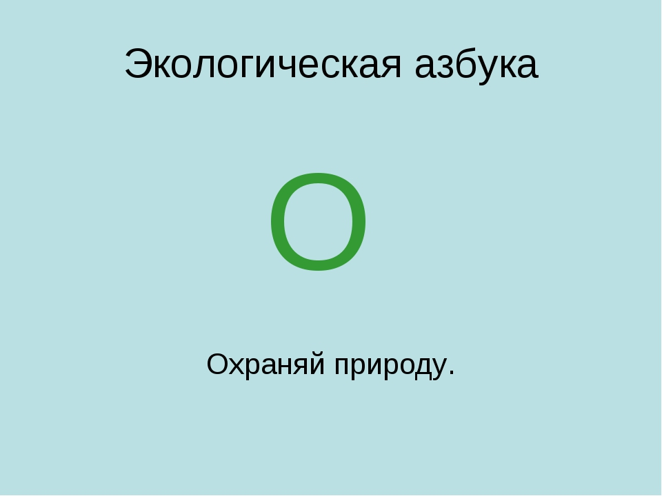 Экологическая азбука Охраняй природу. О