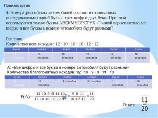 Производство 4. Номера российских автомобилей состоят из записанных последова