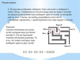 Решение: Сначала обозначим путь (или пути), которым паук достигнет выхода D.