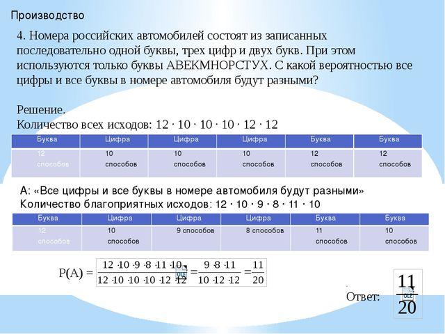 Производство 4. Номера российских автомобилей состоят из записанных последова...