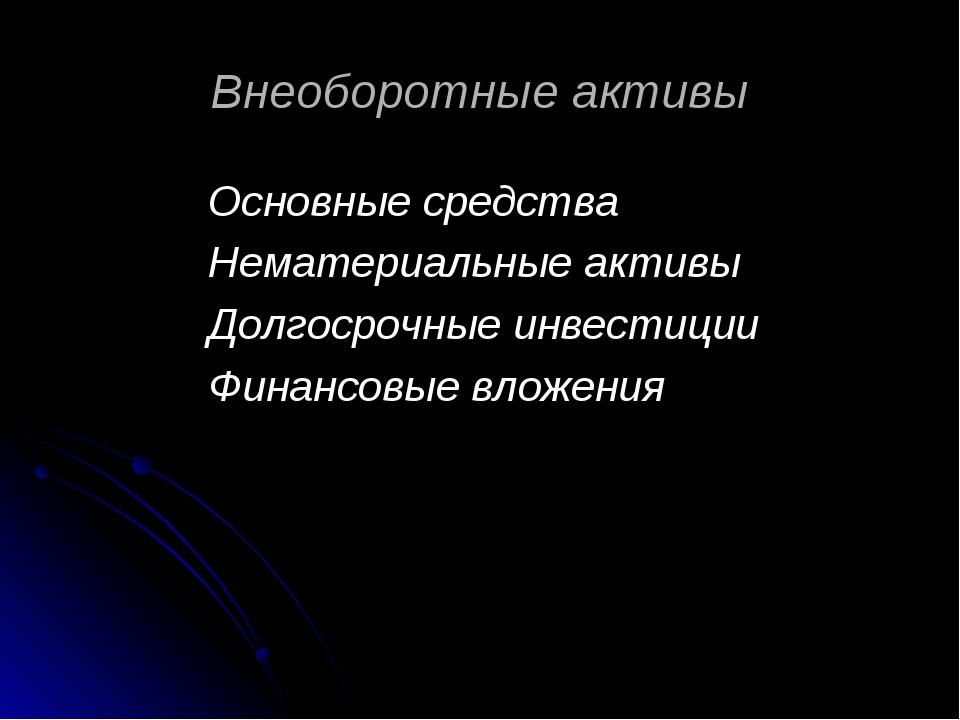 Внеоборотные активы Основные средства Нематериальные активы Долгосрочные инве...