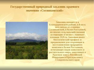Государственный природный заказник краевого значения «Сотниковский» Заказник