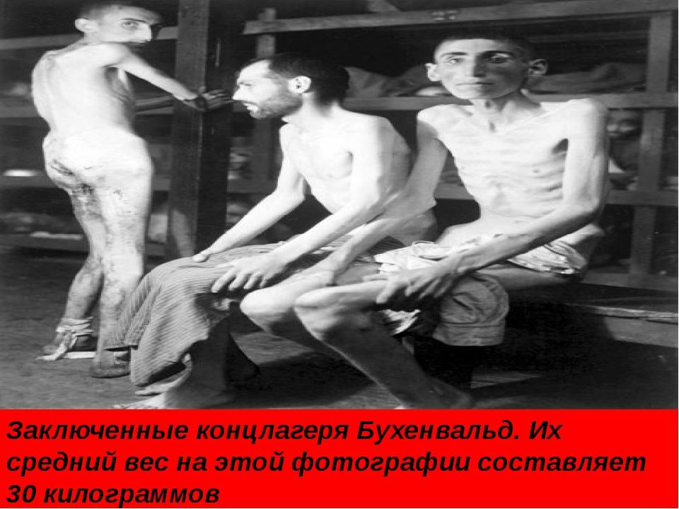 Заключенные концлагеря Бухенвальд. Их средний вес на этой фотографии составля...
