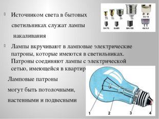 Источником света в бытовых светильниках служат лампы накаливания Лампы вкручи