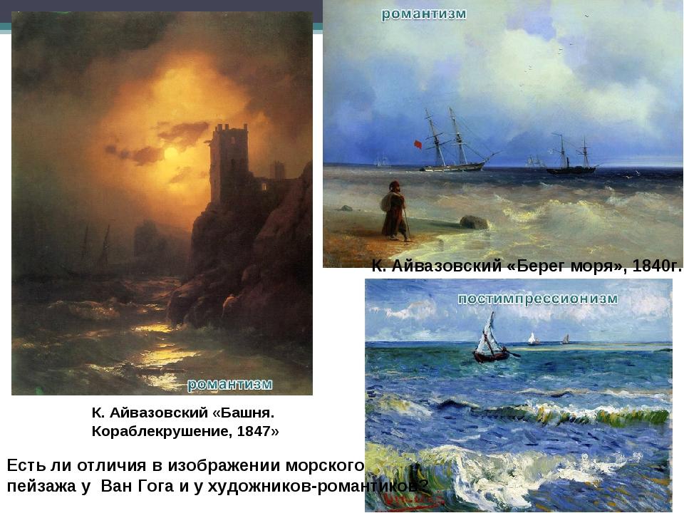 К. Айвазовский «Башня. Кораблекрушение, 1847» К. Айвазовский «Берег моря», 18...