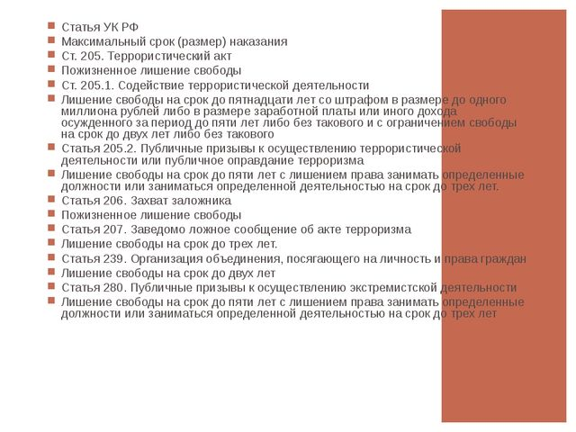 Статья УК РФ Максимальный срок (размер) наказания Ст. 205. Террористический а...