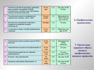 6. Профилактика травматизма 7. Пропаганда здорового образа жизни и профилакти