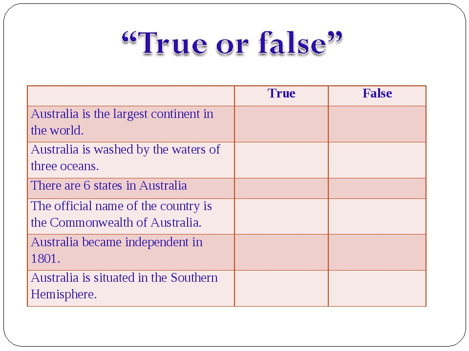 TrueFalse Australia is the largest continent in the world.  Australia is...
