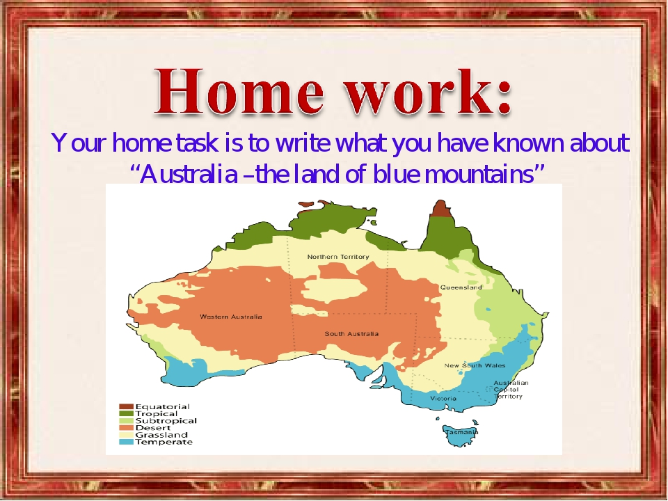 """Your home task is to write what you have known about """"Australia –the land of..."""
